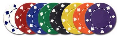 Quality poker chips, suited with a metal insert to enhance the feel of the chips